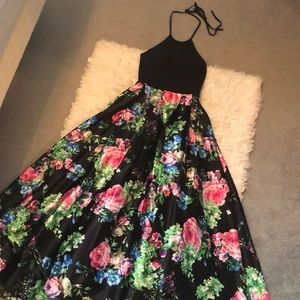 Colorful, floral long prom dress